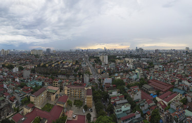 Aerial view of Hanoi cityscape from Lac Trung street to Thanh Nhan street, Hai Ba Trung district, south east of Hanoi