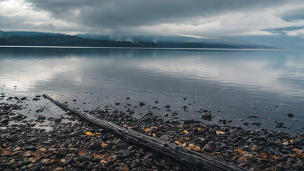 Wall Mural - Lake McDonald on an overcast day.