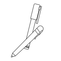 pen and marker icon over white background. vector illustration