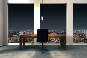 minimalistic office interior with illuminated night city view 3D