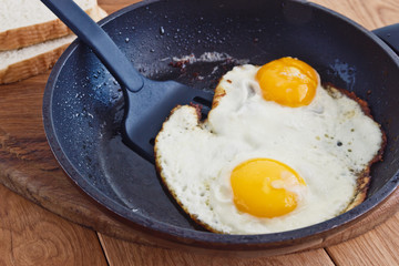 Fond de hotte en verre imprimé Ouf Fried eggs
