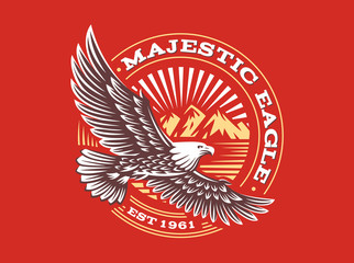 Eagle logo - vector illustration, emblem on red background