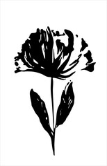 Black silhouette of a flower on white background.