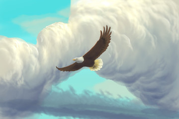 Eagle flying in the sky / digital painting / cartoon