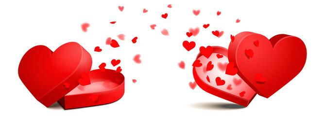 Herzförmige offene Geschenk Schachtel mit Herz Konfetti - Set ...