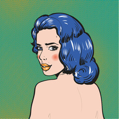 Woman looking back pop art comics vector illustration