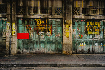 Public place ,  Classic door in chinatown (Yaowarat) Road,the main street in Chinatown, once of Bangkok landmark .
