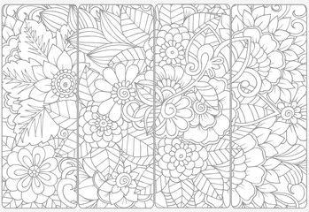 Vector set of decorative monochrome bookmarks