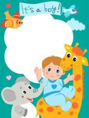 Baby Boy Shower Invitation Card With Funny Giraffe, Elephant And Bird. Vector Cartoon Illustration. Invitation Card Template. Invitation Card Design. Invitation Card Sample.