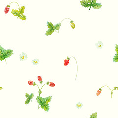 Forest strawberry. Vector seamless pattern. Hand painted watercolor illustration.