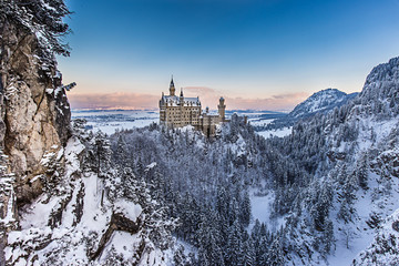 Neuschwanstein castle in winter evening. Bavaria, Germany.