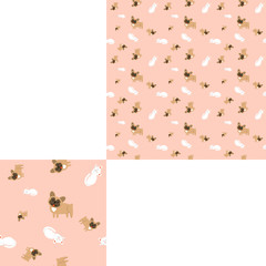 Seamless pattern of domestic animals on a pink background with pattern unit.