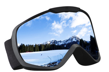 skier mask with reflection of the ski slope
