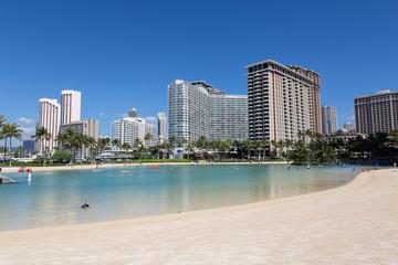 Honolulu, Hawaii, Strand, Meer, Wasser, Sonne, Häuser USA