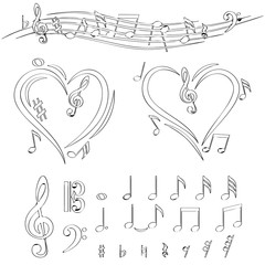 Drawn Doodle Lined Icon Set Big Music Pack