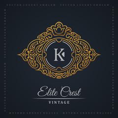 Vintage gold logo set. Flourishes crest calligraphic ornament