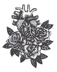 heart and roses