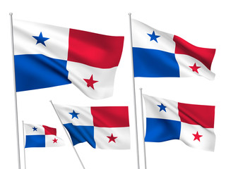 Panama vector flags. A set of 5 wavy 3D flags created using gradient meshes. EPS 8 vector