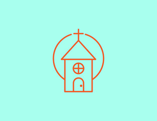 Vector flat line modern church icon