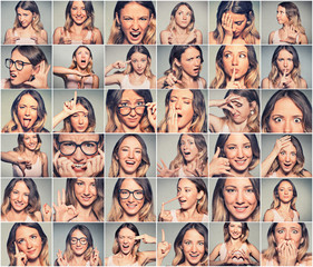Collage of a young attractive woman expressing different emotions