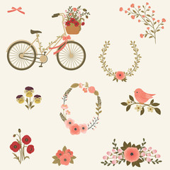Flowers and bicycle vector clip art