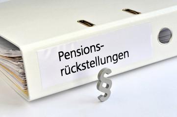 Pensionsrückstellungen, Pension, Rente, betriebliche Altersversorgung, Paragraf, Ordner, Gesetz, symbolisch, Rentenversicherung, Arbeitsrecht, Rechnungswesen, Versicherungsmathematik, Buchführung