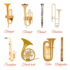 Vector set of wind musical instruments isolated on white background