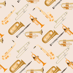 Vector seamless pattern with wind musical instruments.