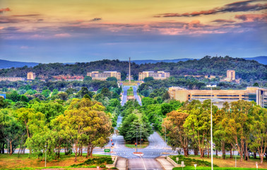View along Kings Avenue towards the Australian-American Memorial in Canberra, Australia