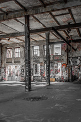 Spoed Foto op Canvas Oude verlaten gebouwen industrial loft room - abandoned factory building