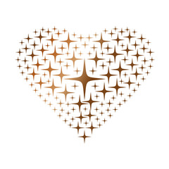 Heart made with golden stars isolated on white background. Vector illustration