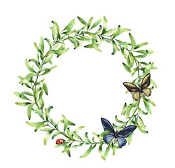 Watercolor wreath with spring herbs, butterfly and ladybug. Hand painted floral border isolated on white background. Botanical illustration with green branches and insects for design, print or fabric.