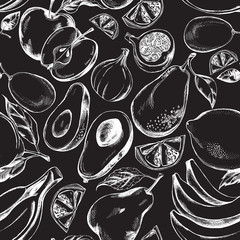 Decorative seamless pattern with hand-drawn fruits