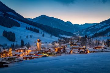 View over Saalbach mountain village at night, Salzburg, Austria