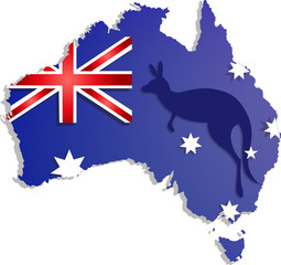 Happy Australia day lettering. Map of  with flag on a blue background