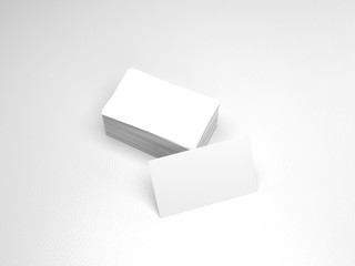 Stack of business cards. Namecards mockup template on white leather background. 3D Rendering