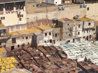 Leather Tannery in Fez Morocco