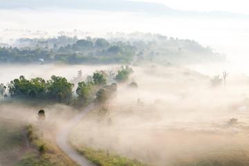 Fog in morning sunrise at Khao Takhian Ngo View Point at Khao-kh