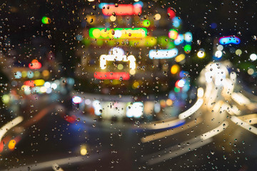 Rain water drops on a window glass after the rain with cityscape and street view on background