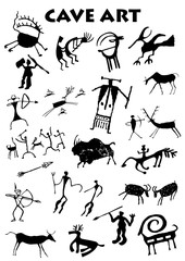 Set of Cave Art in white background - Vector image