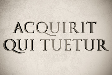"""Latin quote """"Acquirit qui tuetur"""" on stone background, 3d illustration - meaning """"He acquires who preserves"""""""