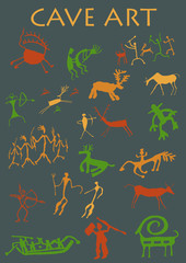 Set of Cave Art in gray background - Vector image