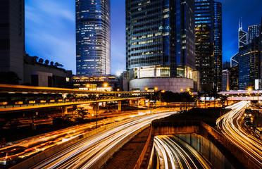 Car light trails and urban landscape in Hong Kong Fotomurales