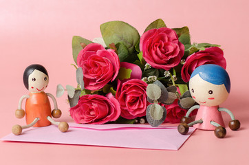 Pink envelope with couple doll and red roses,wedding invitation card,Valentine day