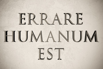 """Latin quote """"Errare humanum est"""" on stone background, 3d illustration - meaning """"To err is human"""""""