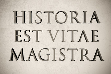"""Latin quote """"Historia est vitae magistra"""" on stone background, 3d illustration - meaning """"History is the teacher of life"""""""