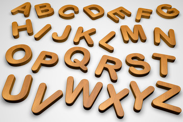 Wooden alphabet letters isolated on white, 3d illustration