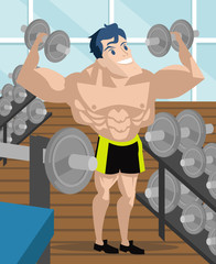 happy handsome bodybuilder using dumbbells in the gym