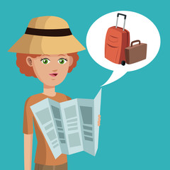 woman short hair map hat suitcase vector illustration eps 10