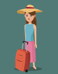 young girl shirt hat suitcase traveling vector illustration eps 10